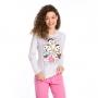 Pijama feminino turma da mônica algodão frio rosa