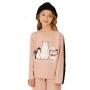 Pijama infantil menina moletinho flanelado urso rosa filha