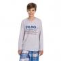 Pijama infantil menino xadrez com frase algodão frio azul