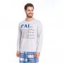 Pijama masculino xadrez com frase algodão frio azul