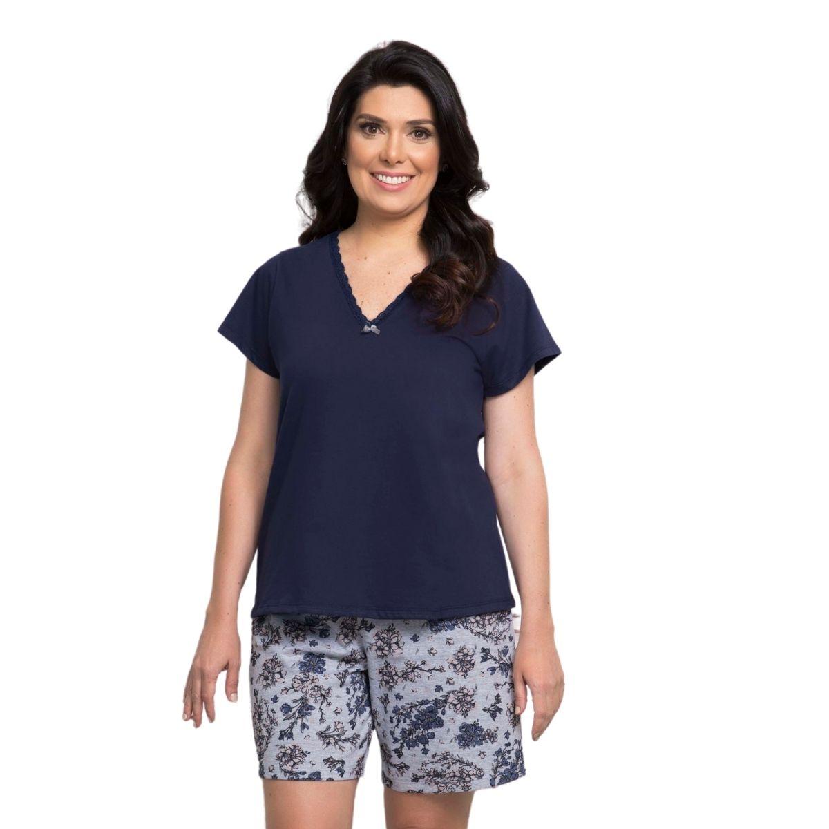 Bermudoll camiseta manga curta renda algodão