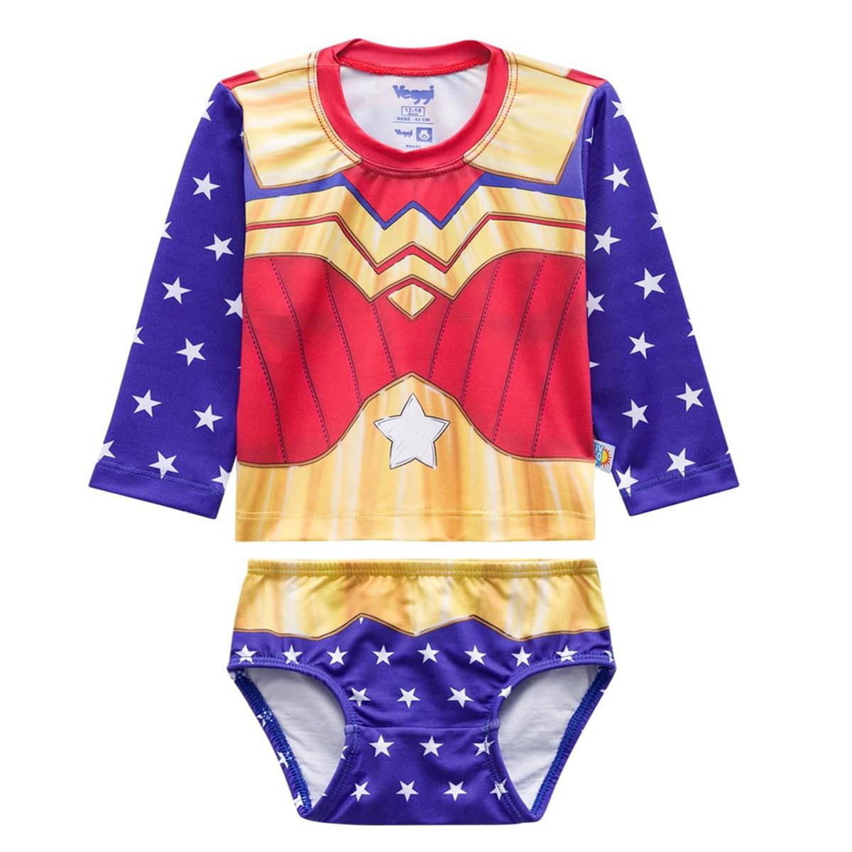 Biquíni bebê blusa proteção solar calcinha mulher maravilha