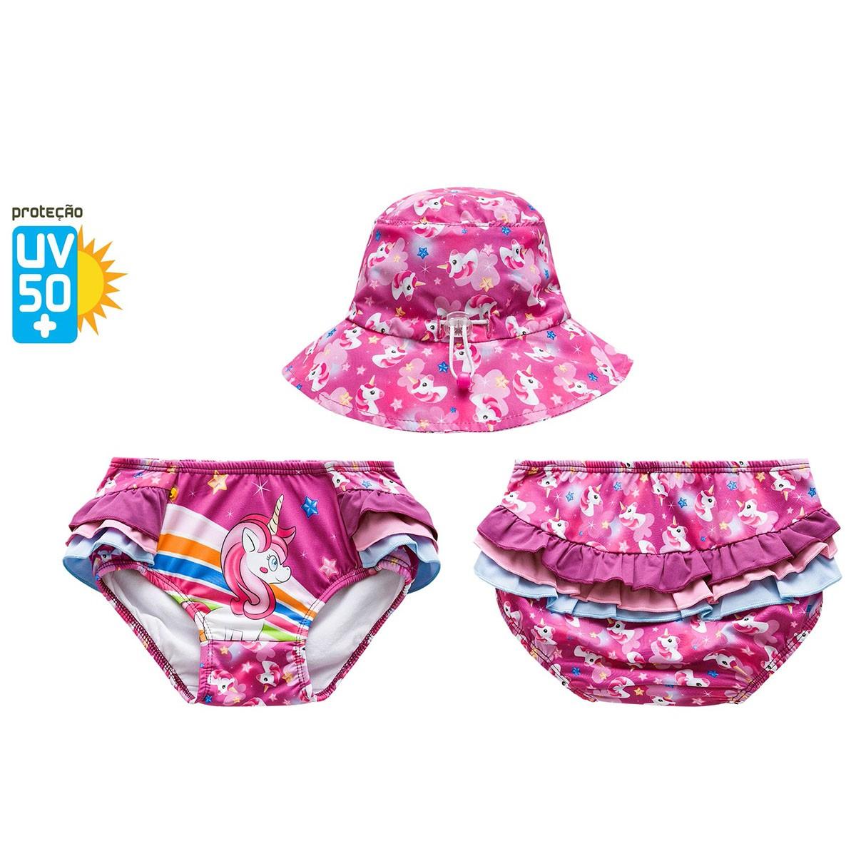 Biquíni bebê calcinha babadinho rosa unicórnio chapéu praia