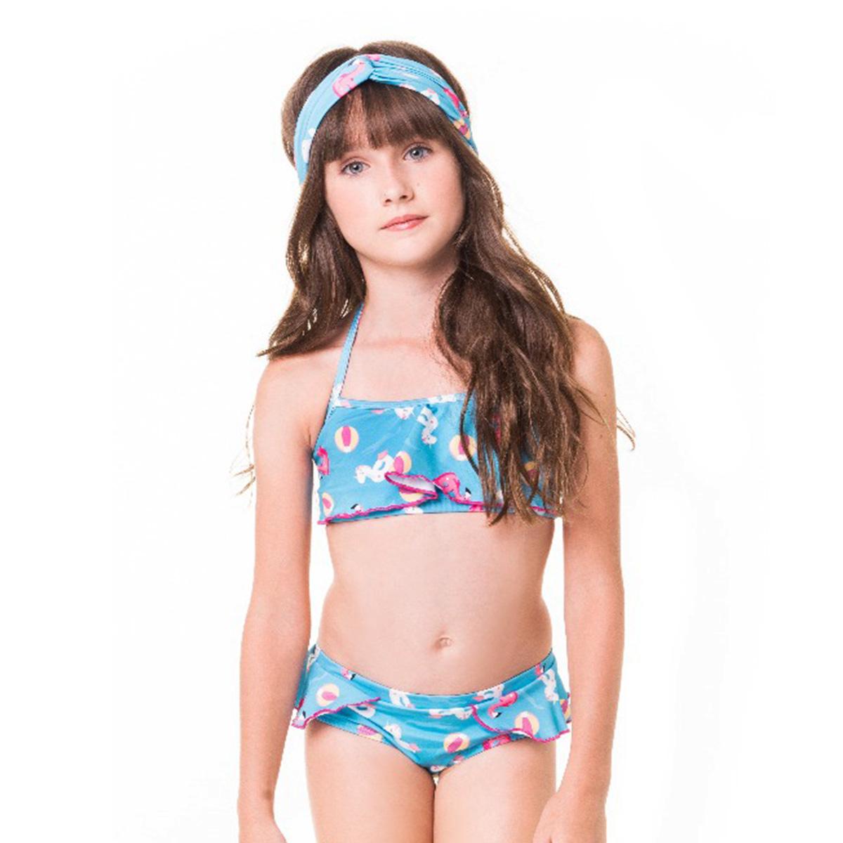 Biquíni blusinha cropped kids azul rosa amarelo unicórnio