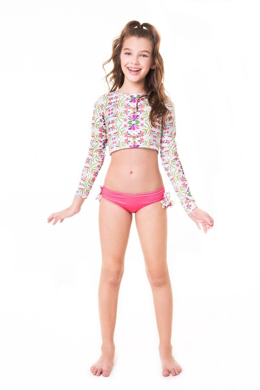 Biquíni cropped adulto blusinha manga longa calcinha larga