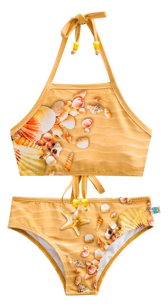 Biquìni cropped conchas do mar proteção solar marrom