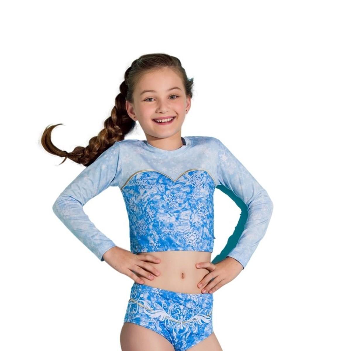 Biquíni cropped criança frozen elsa manga longa azul gelo