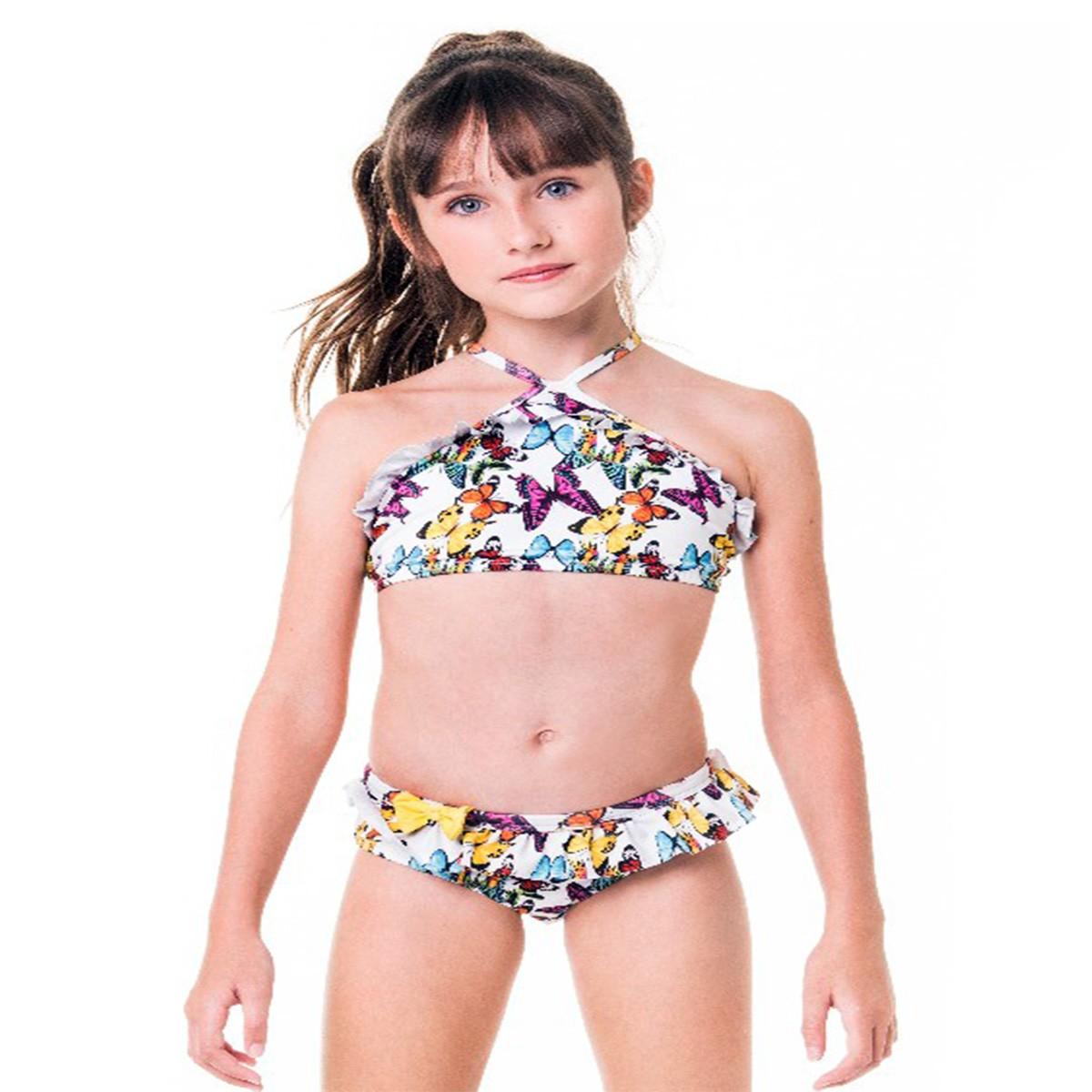 Biquíni cropped infantil babadinho borboleta calcinha babado