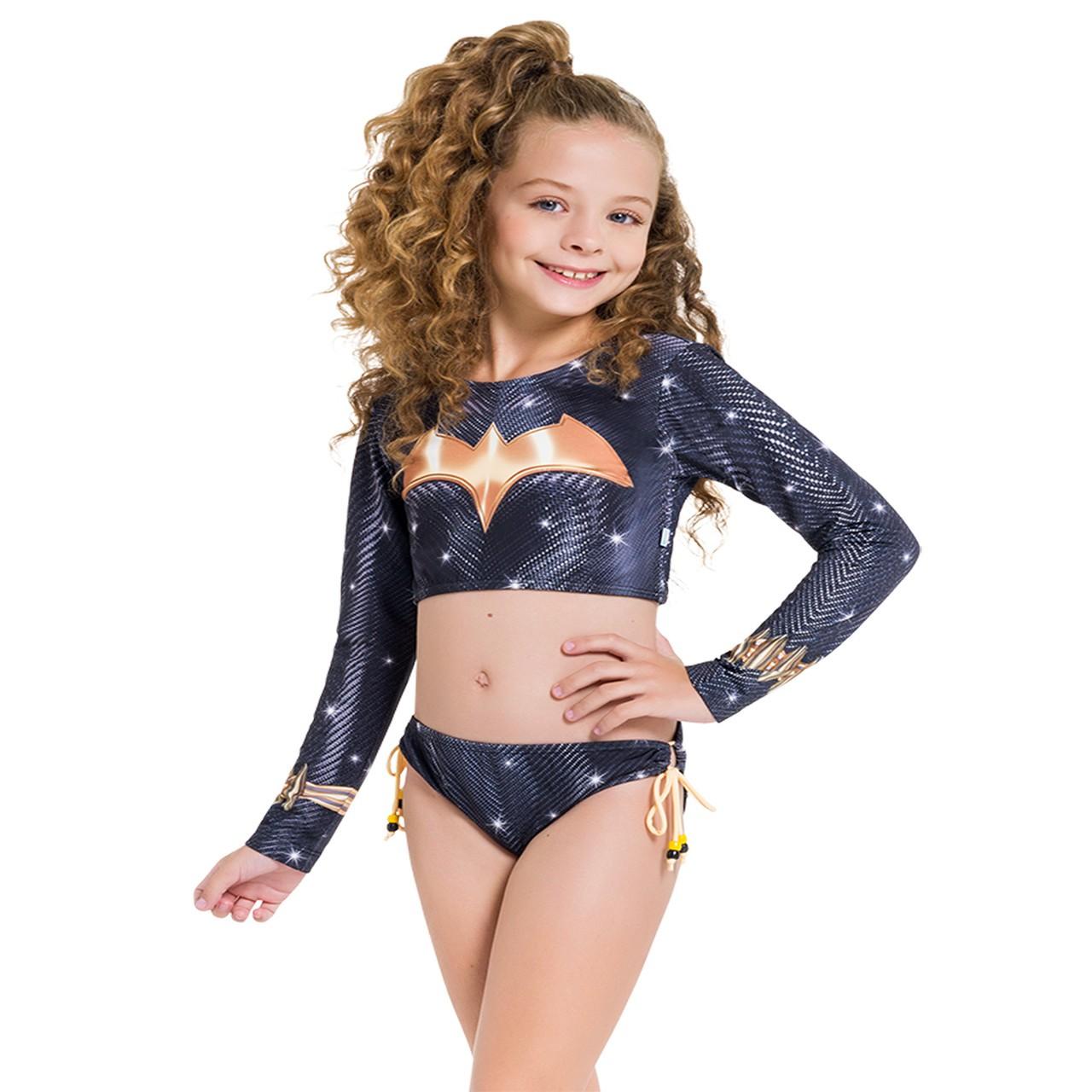 Biquíni cropped infantil batgirl menina manga longa praia