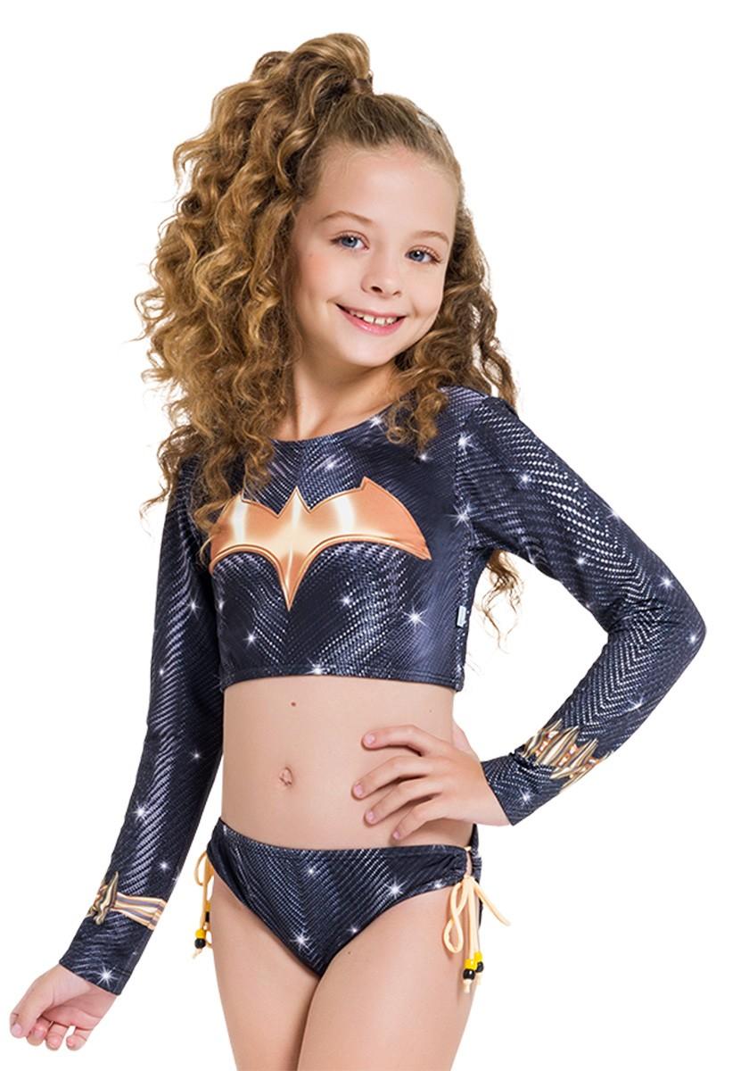 Biquini cropped infantil batgirl menina manga longa praia