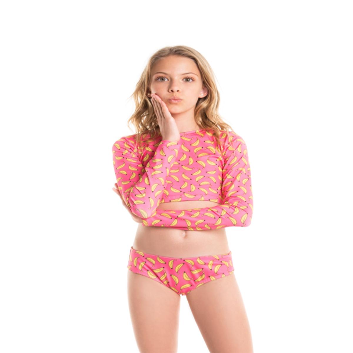 Biquíni cropped infantil manga longa calcinha larguinha