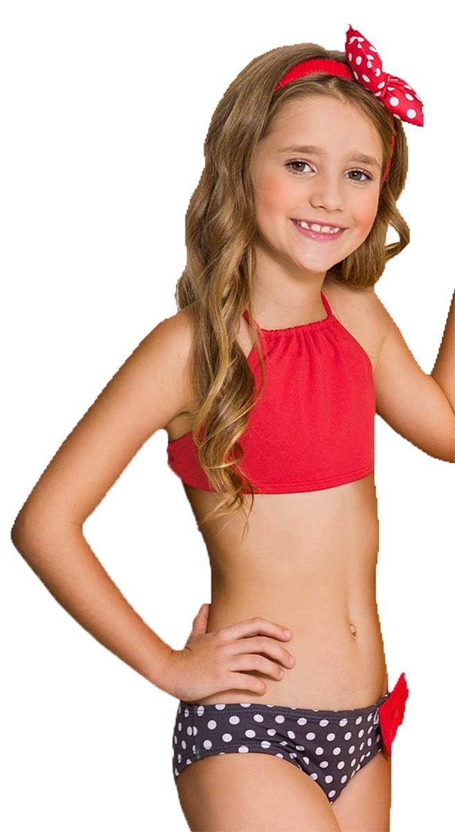 Biquíni cropped infantil minnie lacinho cabelo vermelho
