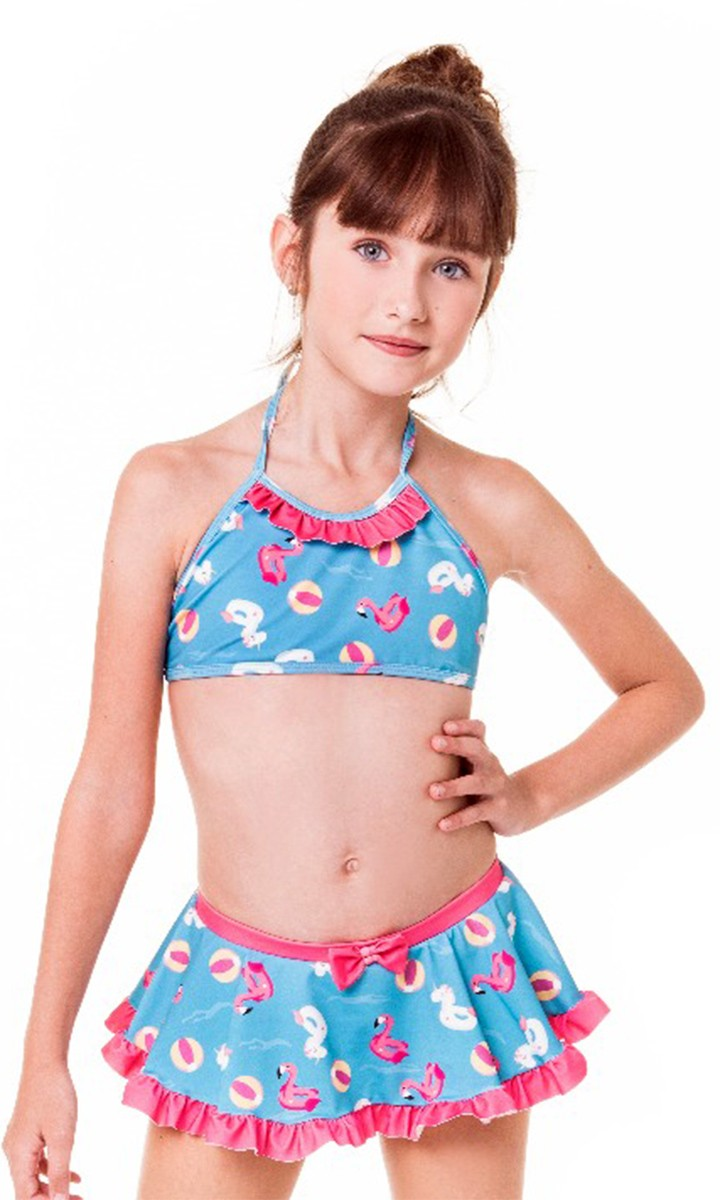 Biquíni cropped kids sainha babadinho azul pink melancia