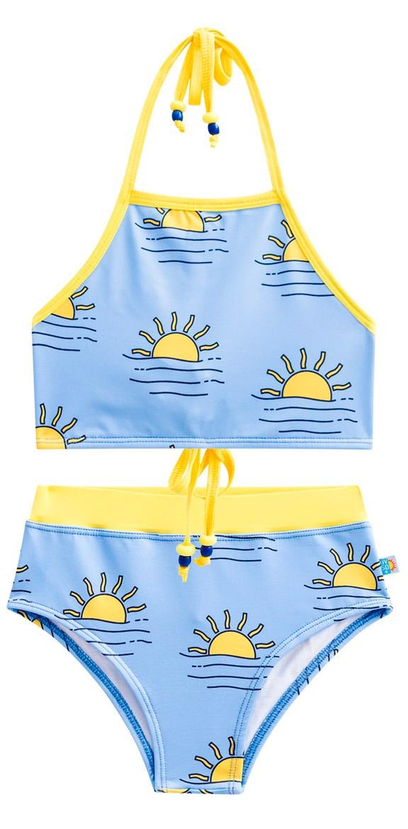 Biquíni cropped por do sol mar proteção solar azul amarelo