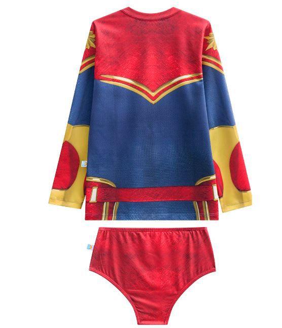 Blusa proteção solar com calcinha biquíni capitã marvel