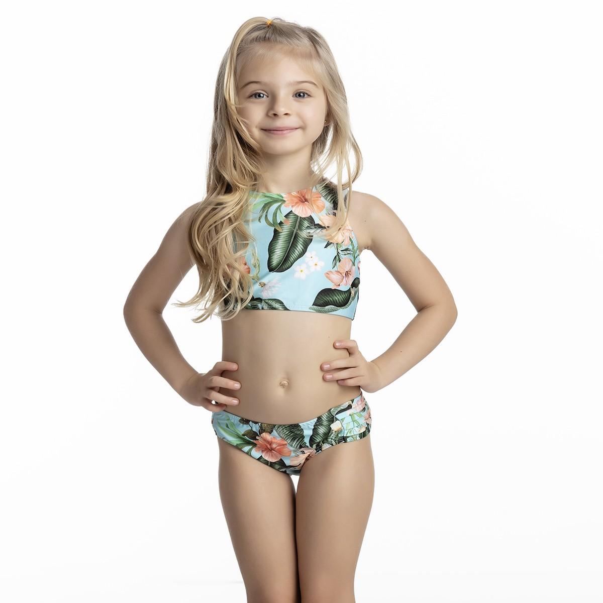 Biquíni infantil cropped blusinha bojo calcinha larga