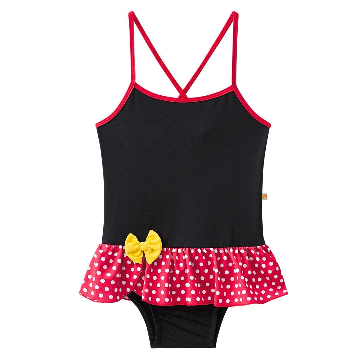 Biquini maiô bebê baby preto vermelho bolinha sainha minnie