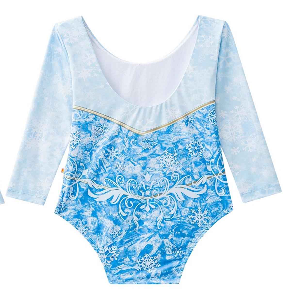 Biquíni maiô infantil frozen elsa azul gelo manga longa