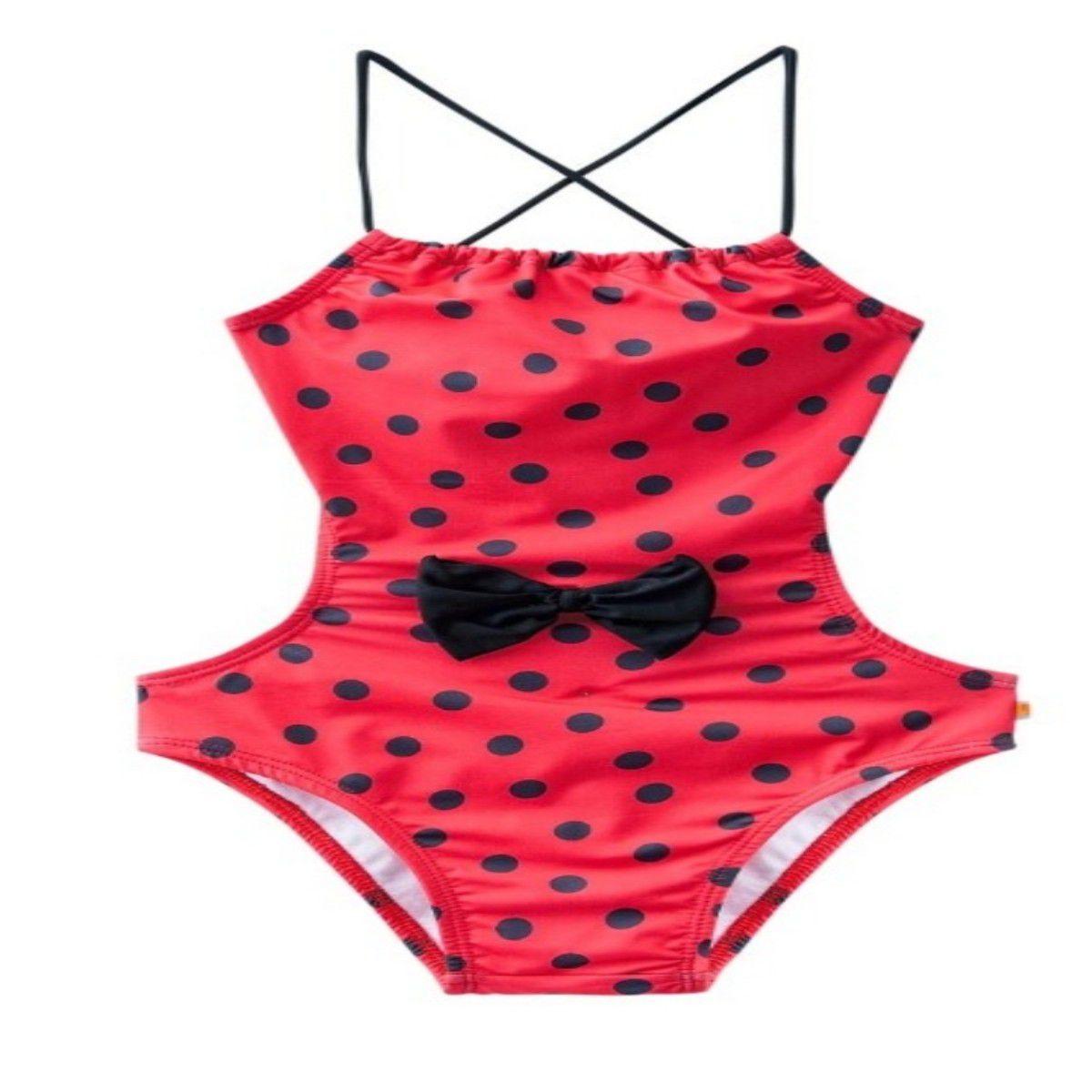 Biquíni maiô ladybug vermelho bolinha alcinha regulagem