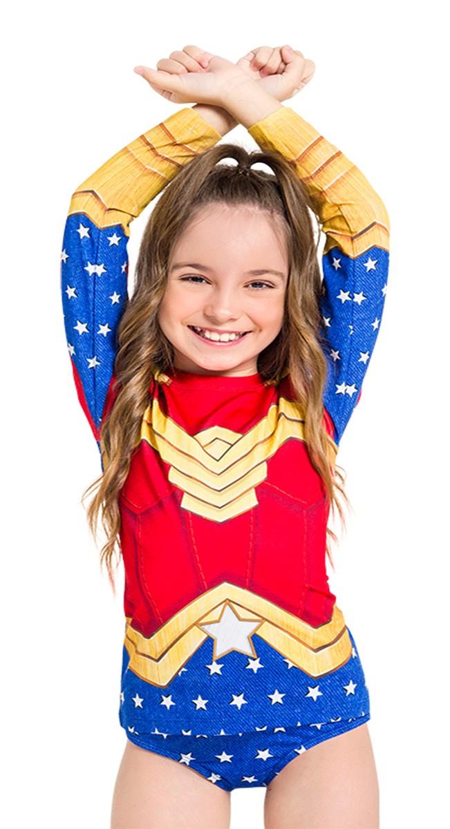 Biquíni proteção blusa + calcinha infantil mulher maravilha