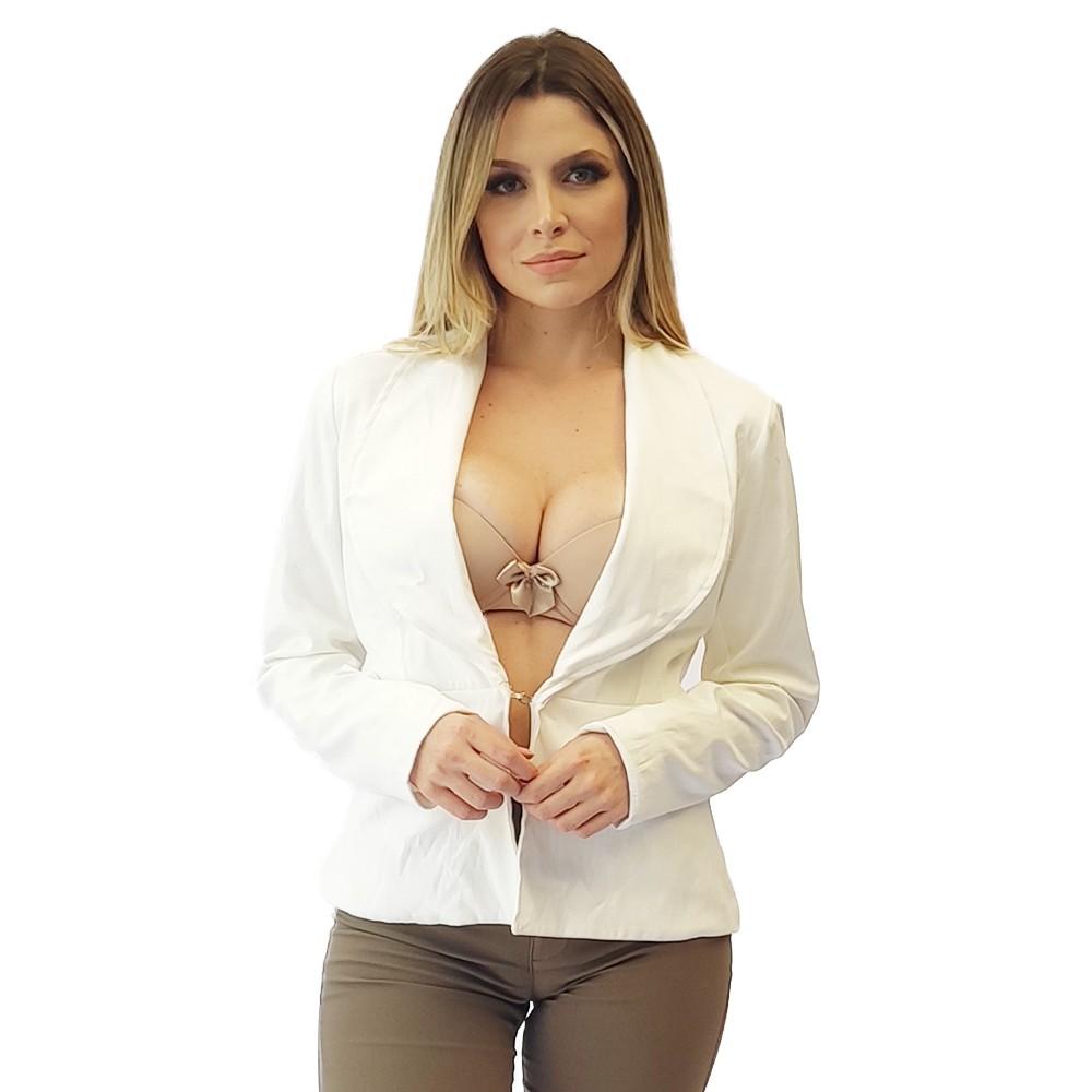 Blazer social feminino casaco estiloso liso decote