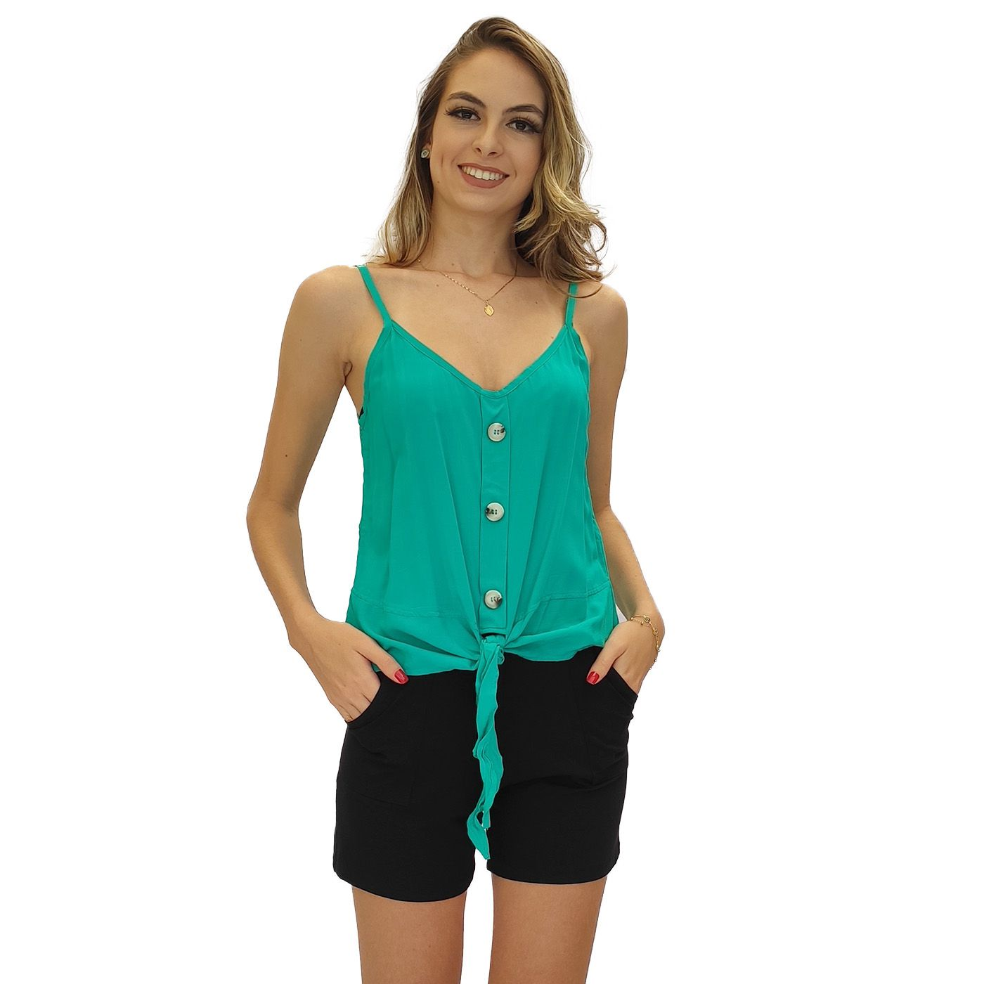 Blusa feminina nozinho alcinha viscose