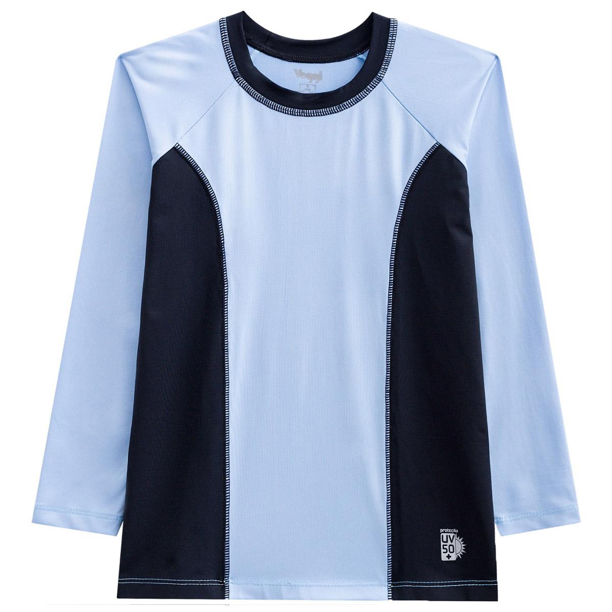 Blusa infantil manga longa unissex proteção solar rosa azul