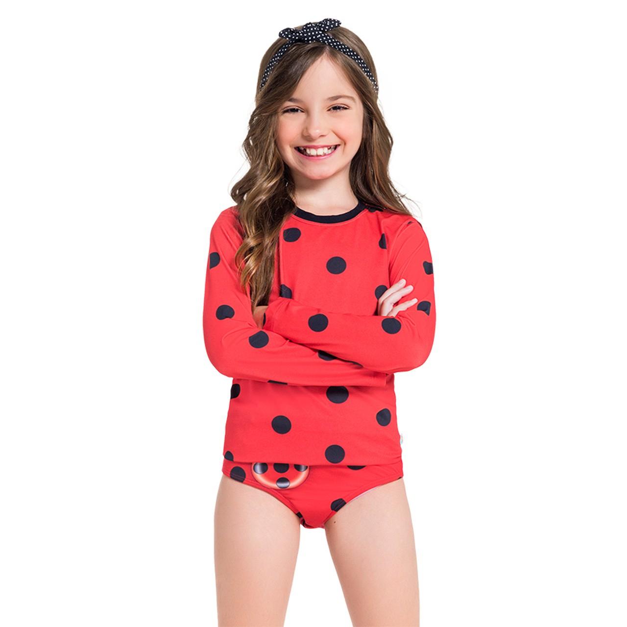 Blusa manga longa + calcinha lady bug infantil menina piscina