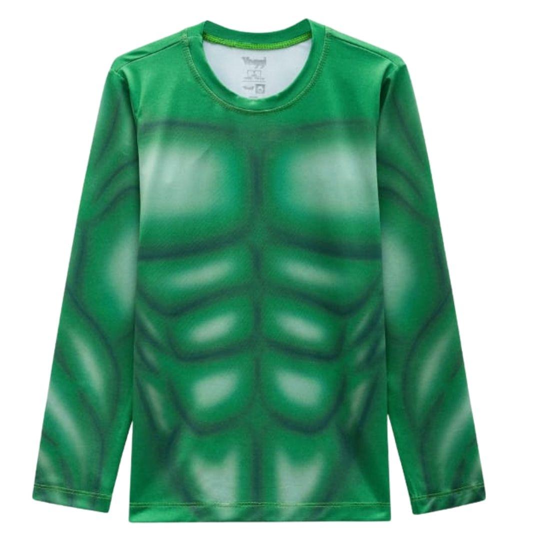 Blusa proteção solar bebê hulk marvel verde