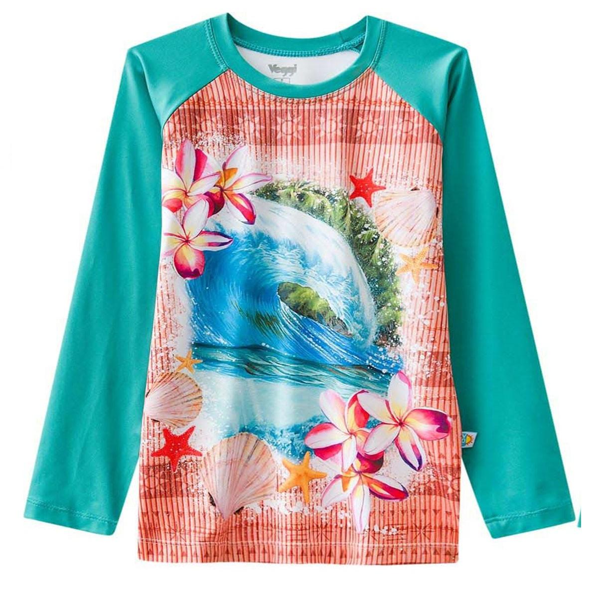 Blusa proteção solar criança moana verde hawai piscina praia