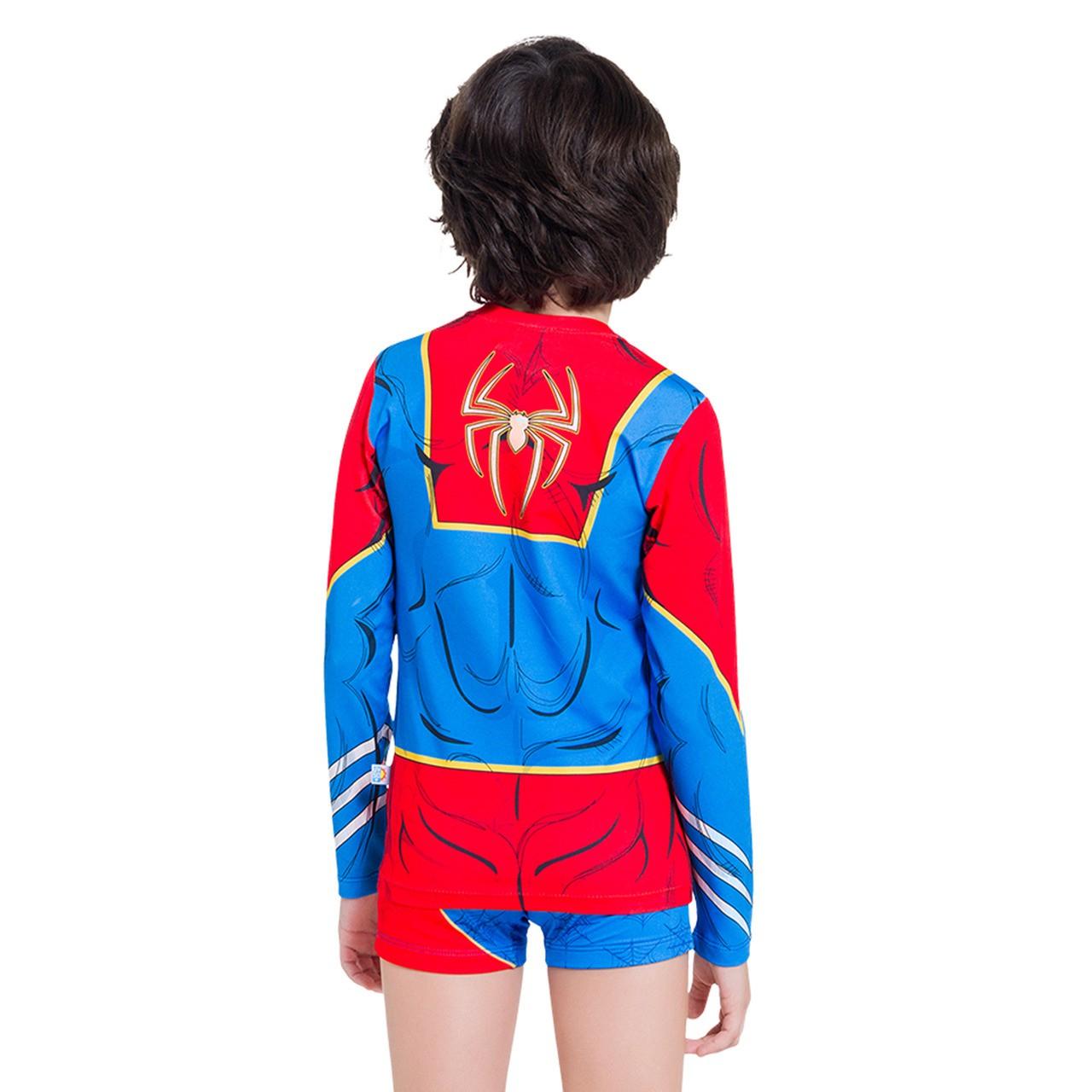 Blusa proteção solar infantil homem aranha marvel