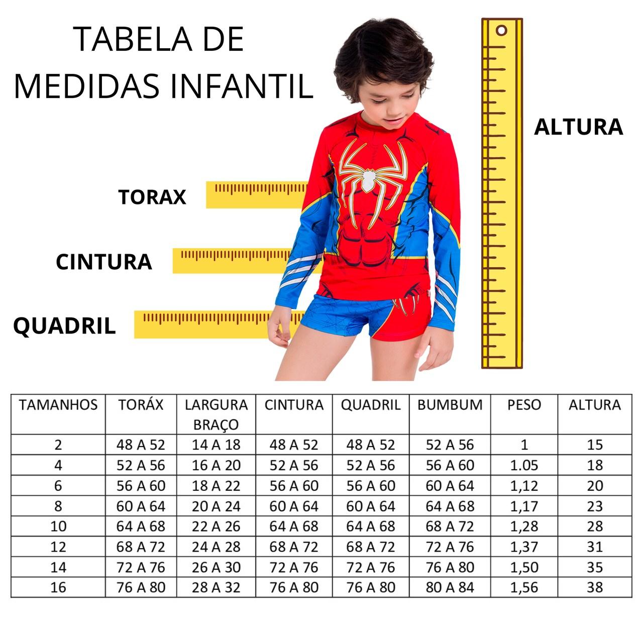 Blusa proteção solar infantil homem aranha personagem marvel