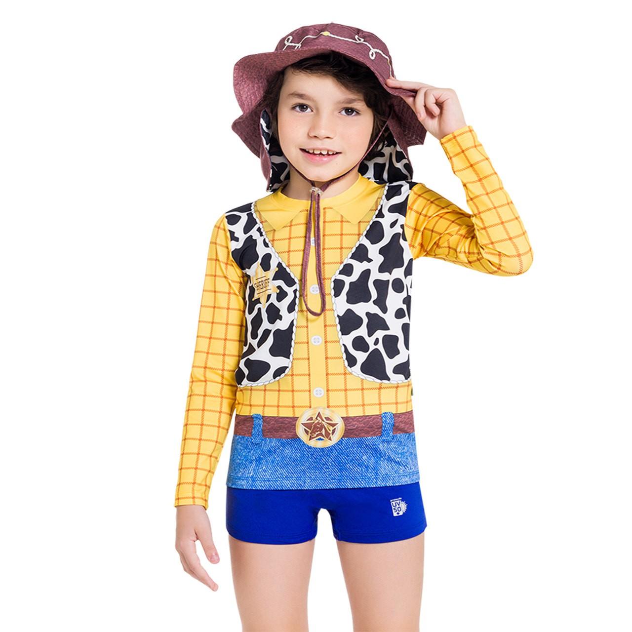 Blusa proteção solar infantil toy story menino woody