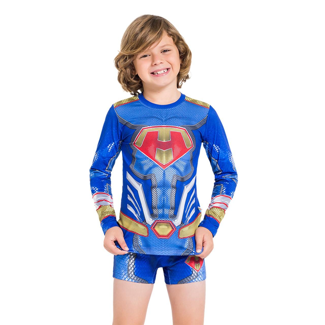 Blusa super man infantil manga longa proteção uv50