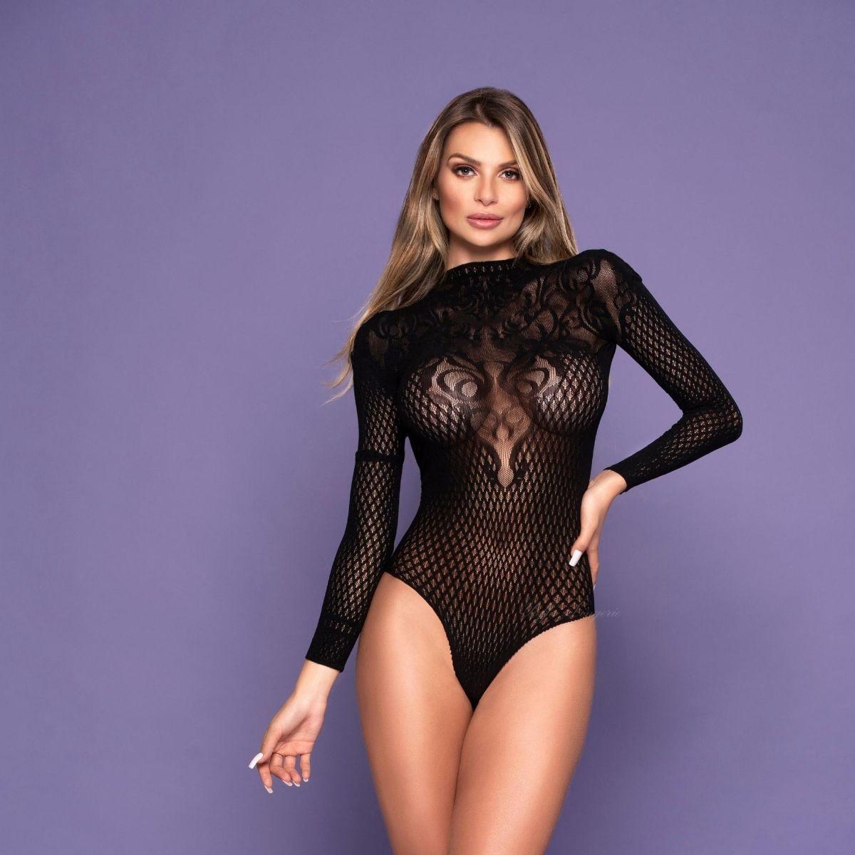 Body luxuoso costas abertas sensual transparência com manga