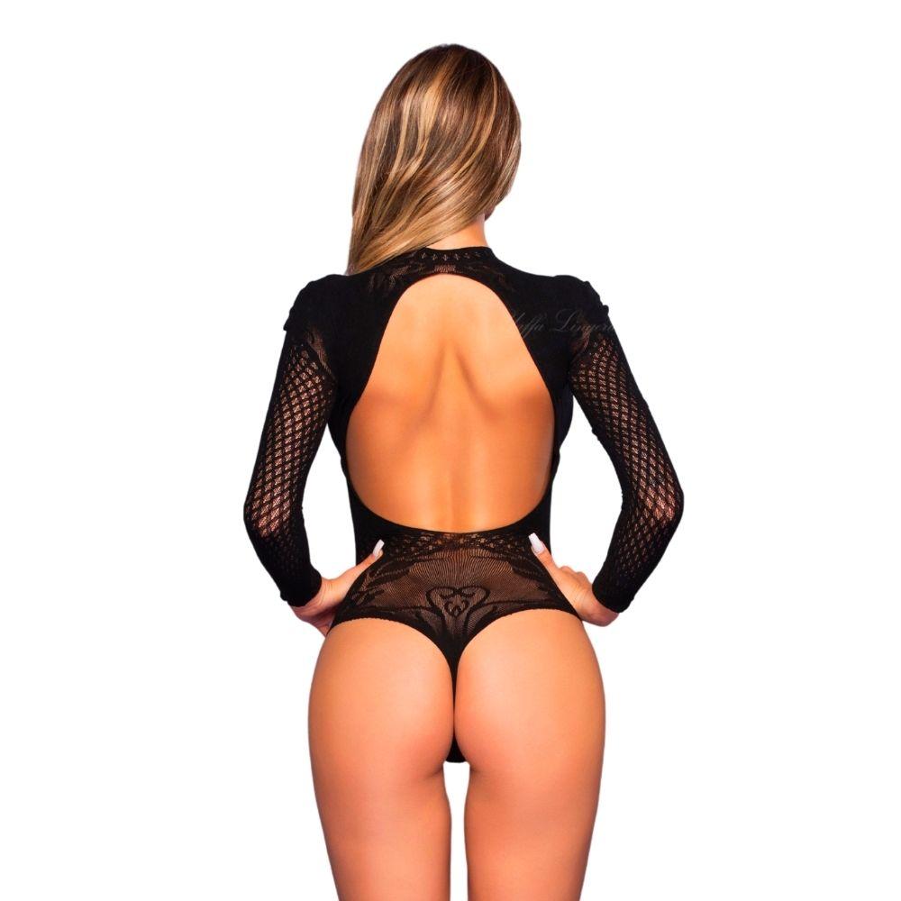 Bodystocking body luxuoso costas abertas transparência manga