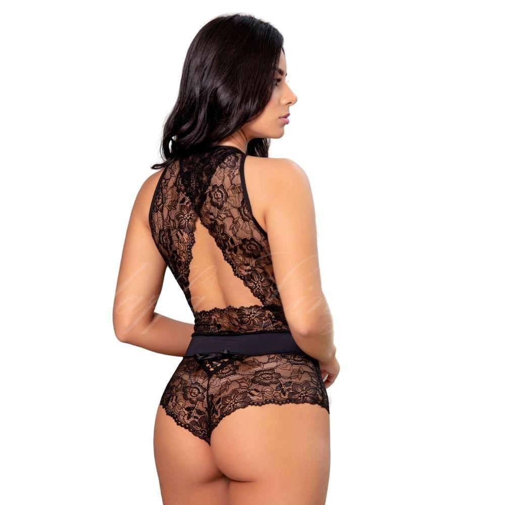 Body sensual sem bojo glamour transparente rendado sexy