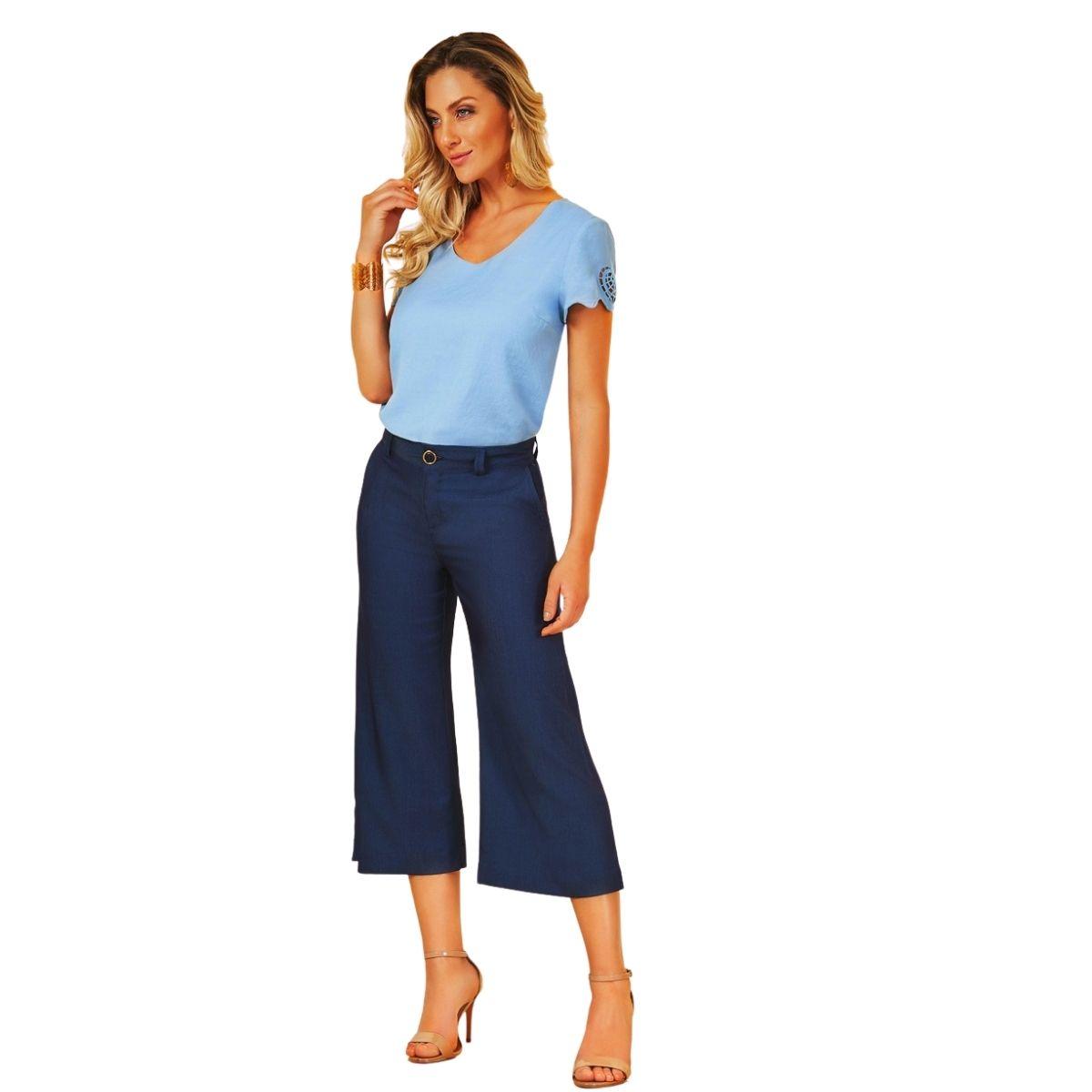 Calça pantacourt feminina cintura alta jeans plus size