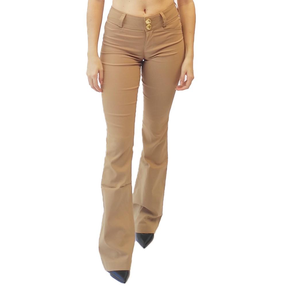 Calça social flare feminina bengaline bolsos plus size