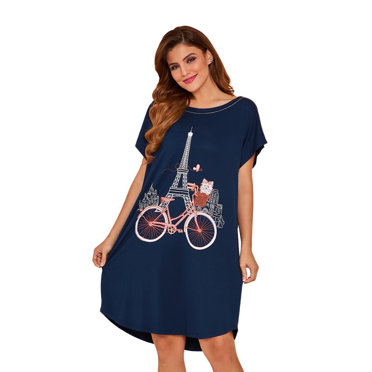Camisão camisola passeio de bike em paris viscose feminino