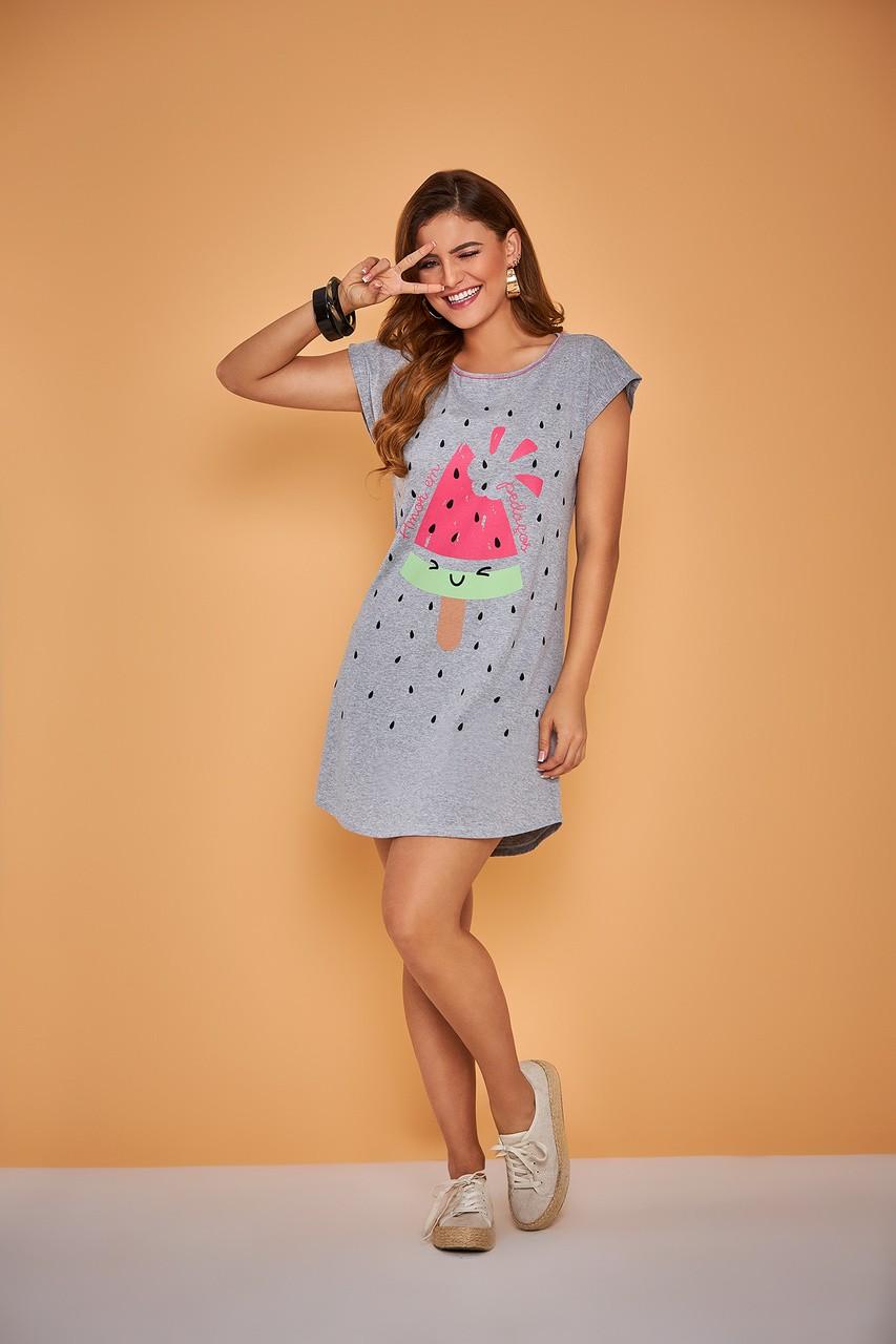 Camisão feminino manga curta fresquinho melancia algodão