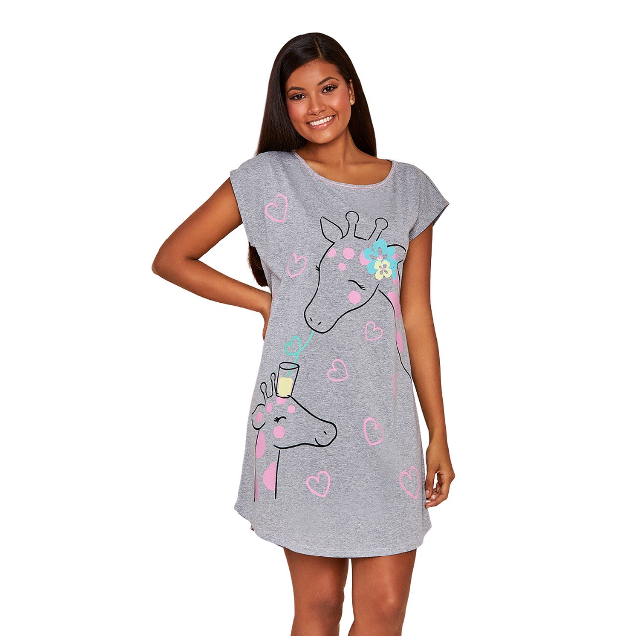 Camisão mulher com manga algodão girafa apaixonada