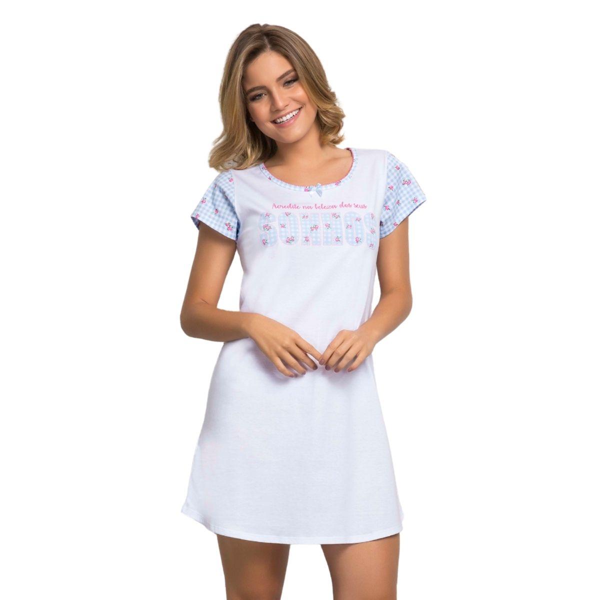 Camisão pijama feminino anga algodão sonho florzinha
