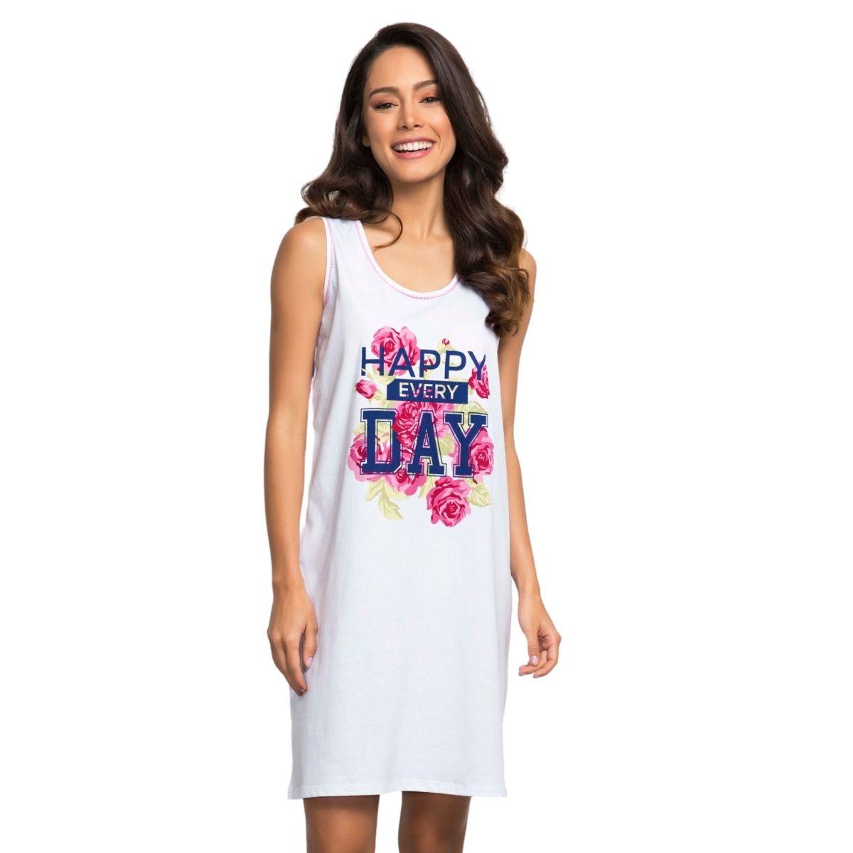 Camisão pijama feminino regata happy every day algodão
