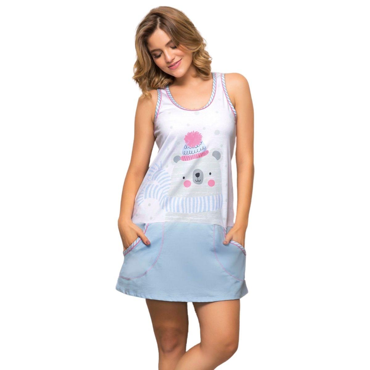 Camisão regata feminino algodão camisola ursinho c/ bolso