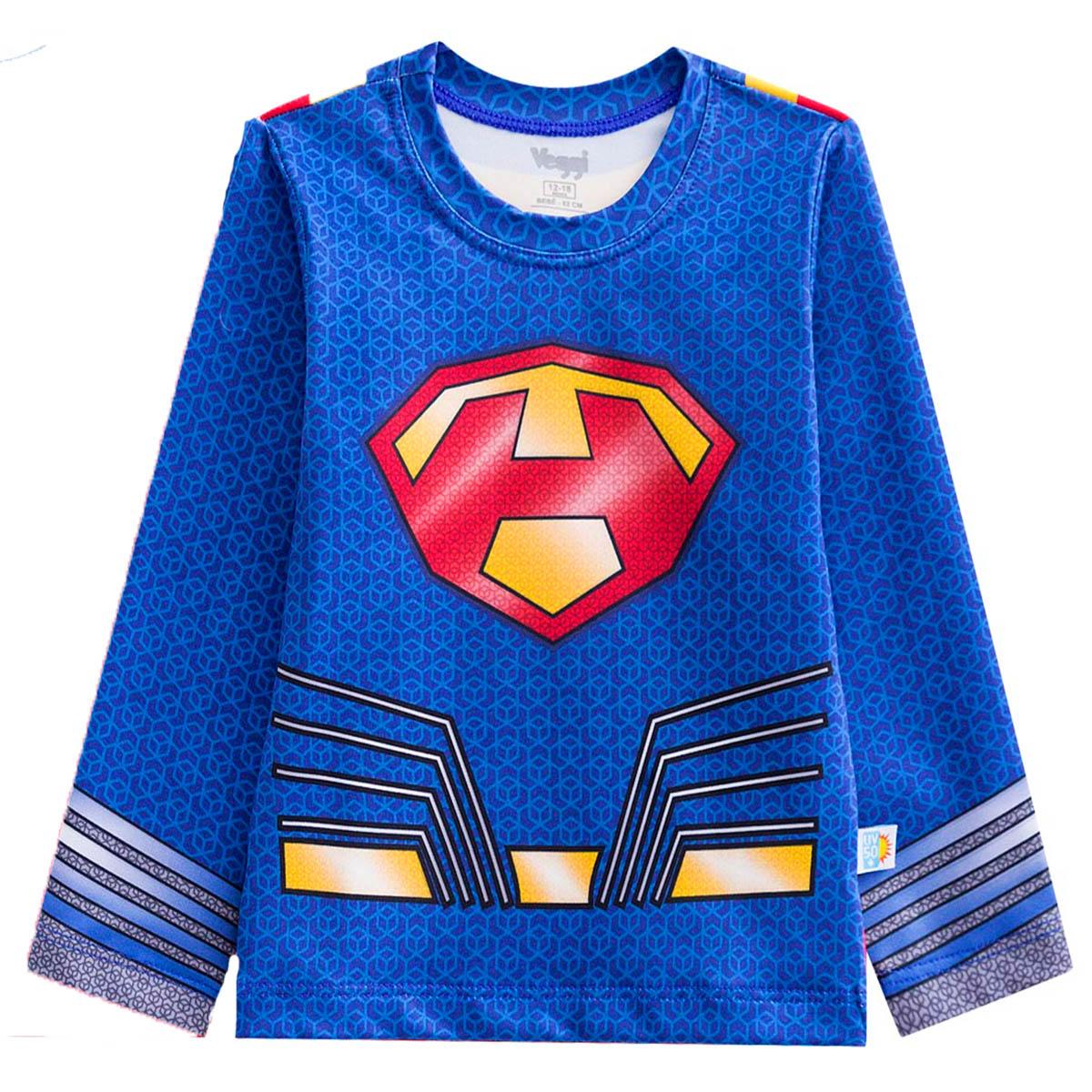 Camiseta proteção sol manga longa kids superman homem de aço