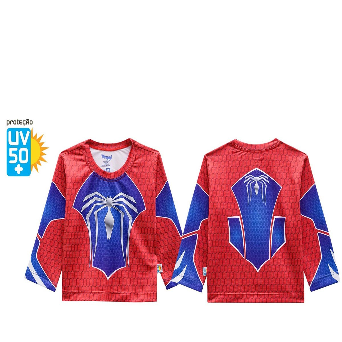 Camiseta proteção solar infantil azul vermelha homem aranha