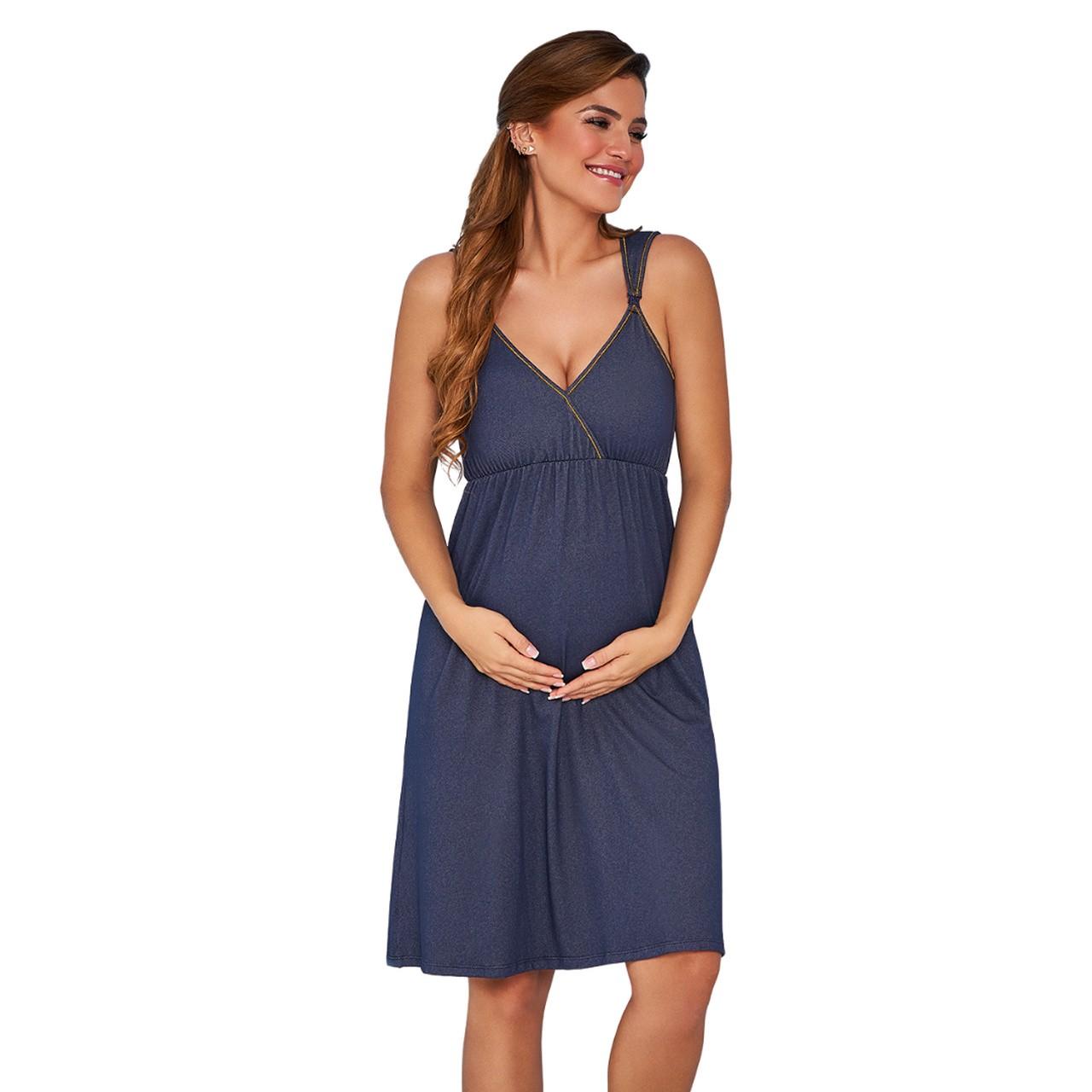 Camisola amamentação grávida de alcinha com abertura seios