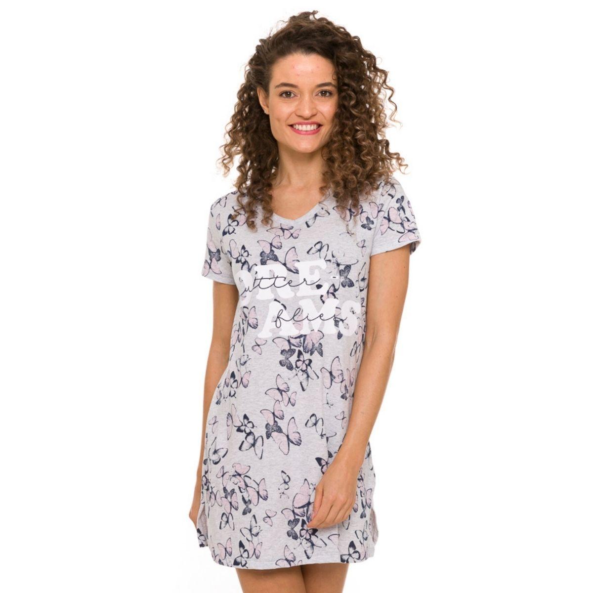 Camisola camisão feminino algodão manga curta para presente
