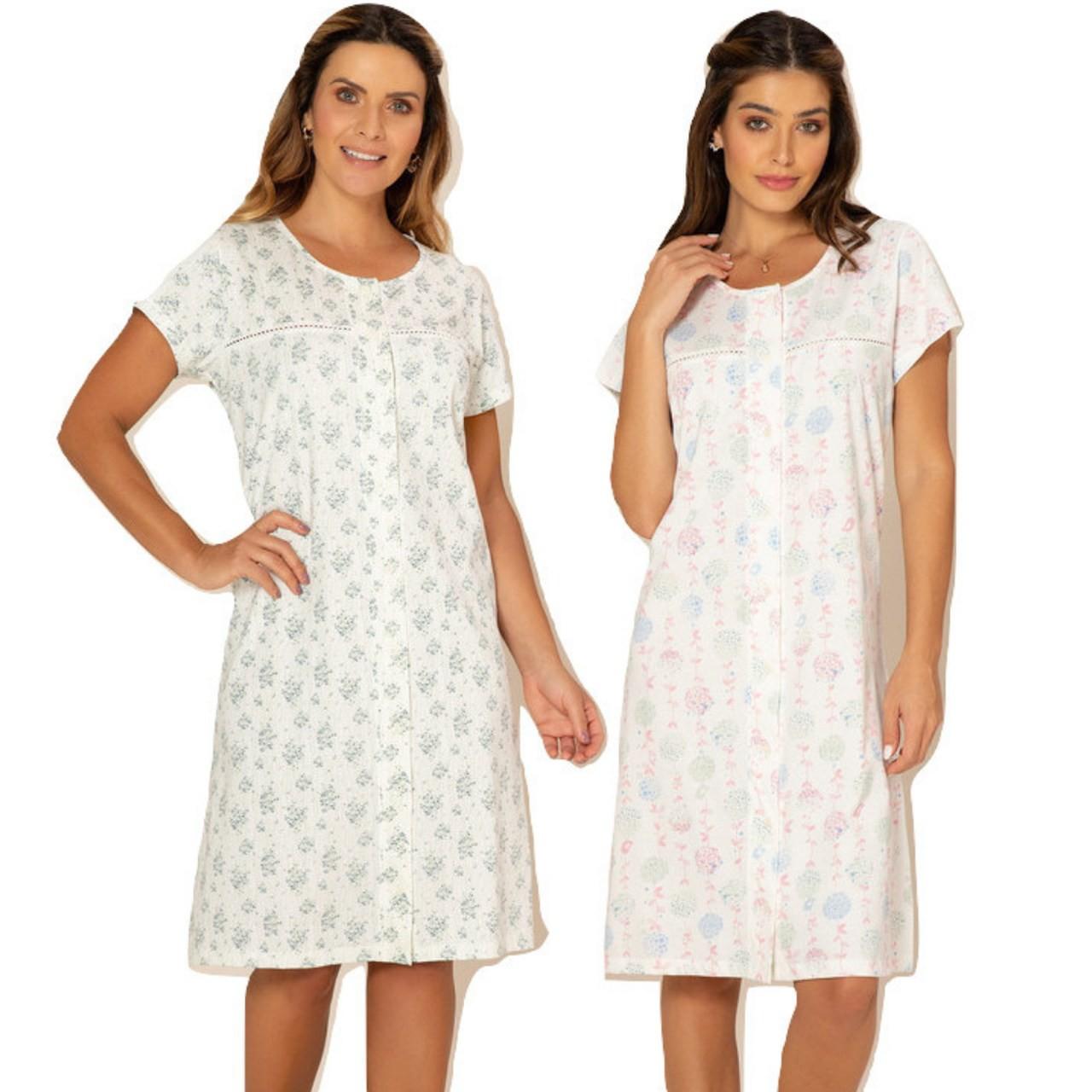 Camisola feminina algodão abertura frontal c/ botões